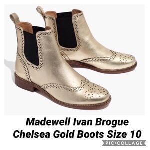 Madewell Ivan Brogue Chelsea Gold Boots Size 10